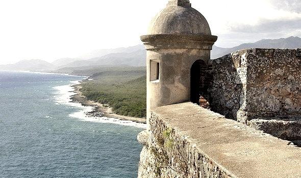 Panoramic view from Castillo del Morro in Santiago de Cuba