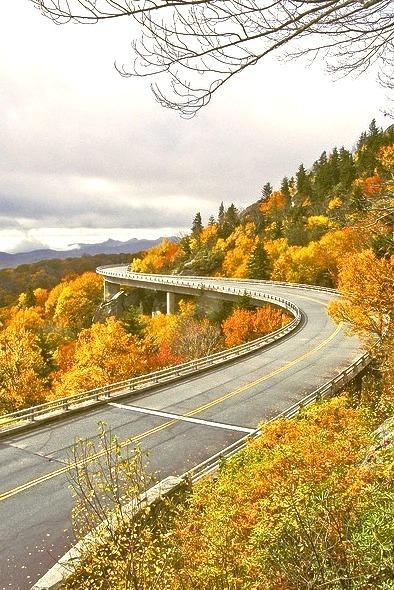 Fall colors at Linn Cove Viaduct in North Carolina, USA