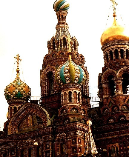 Domes of the Church On The Spilled Blood in St. Petersburg, Russia