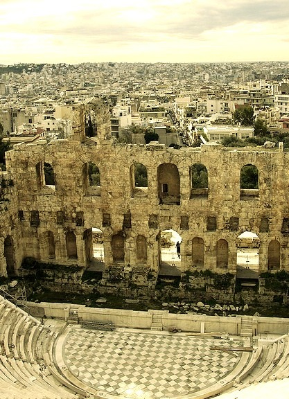 The Odeon of Herodes Atticus on the southwest slope of the Acropolis in Athens / Greece